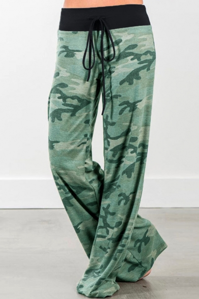 Fashion Camouflage Printed Tied Waist Casual Loose Leisure Wide Legs Pants