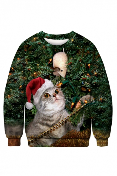 Lovely 3D Cartoon Christmas Cat Pattern Long Sleeve Round Neck Green Sweatshirt