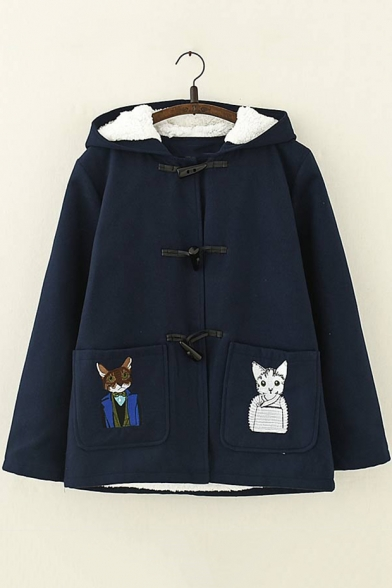 Lovely Cartoon Cat Embroidered Pocket Long Sleeve Toggle Button Down Woolen Coat