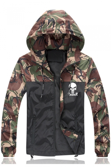 Stylish Color Block Camouflage Pattern Long Sleeve Hooded Zip Up Jacket