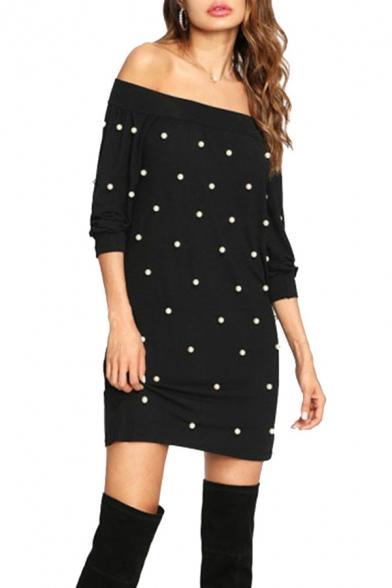 Unique Beading Embellished Off the Shoulder Long Sleeve Mini Sheath Sweatshirt Dress