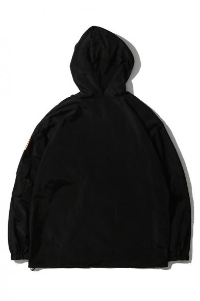 Unique Multi Zip Embellished Long Sleeve NASA Logo Pattern Hooded Zip Up Jacket