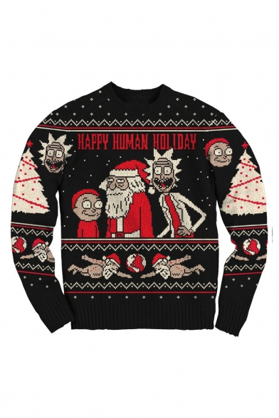 Unisex Chic Santa Claus and Snowflake Printed Round Neck Long Sleeve Black Sweatshirt