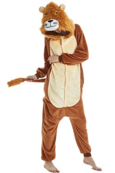 Unisex Fleece Carnival Lion Cosplay Onesie Costume Pajamas for Adult