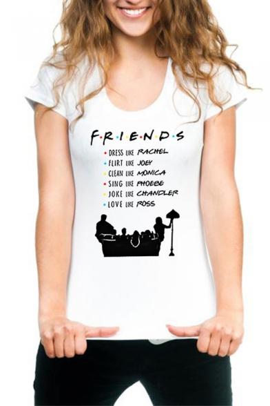Women's Letter FRIENDS Printed Short Sleeve White Modal T-Shirt