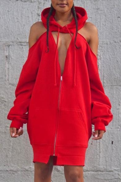 Women's Sexy Cold Shoulder Half-Zip Front Long Sleeve Mini Sheath Hoodie Dress