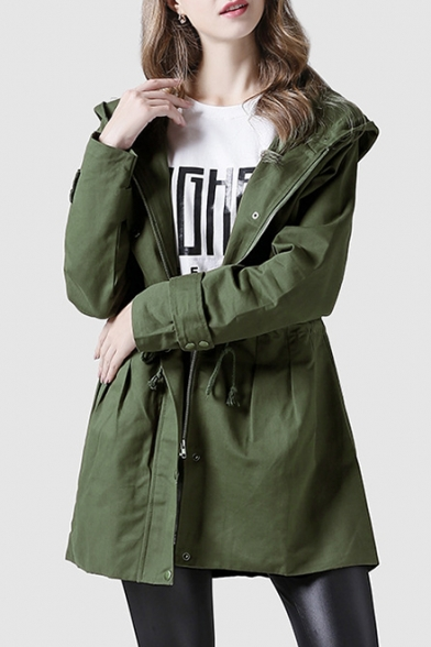 Autumn New Fashion Long Sleeve Drawstring Waist Hooded Zip Up Army Green Trench Coat
