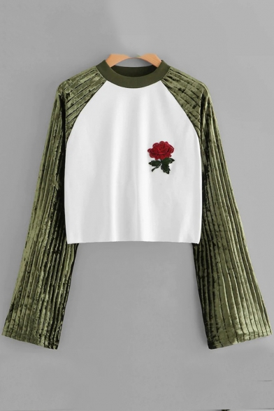 Купить со скидкой Chic Color Block Floral Embroidered Crewneck Long Sleeve Cropped Green T-Shirt