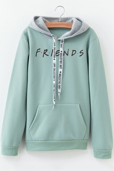 Fashion Colorblock Dot Letter FRIENDS Print Long Sleeve Loose Fitted Hoodie