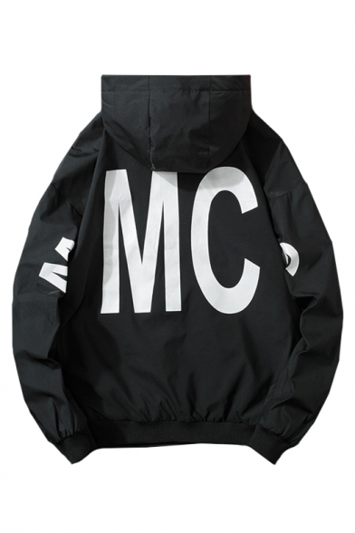Letter MC Printed Hooded Long Sleeve Zip Up Jacket for Juniors