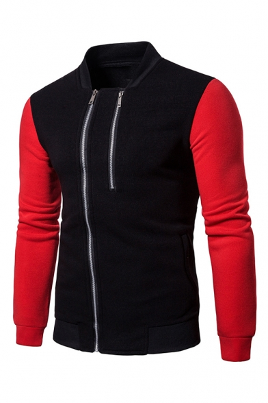 New Fashion Stand Collar Color Block Long Sleeve Double Zip Closure Fitted Sweatshirt