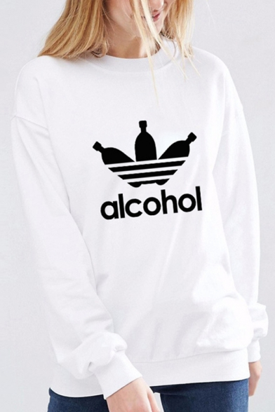 New Trendy Letter ALCOHOL Printed Crewneck Long Sleeve Slim Fitted Sweatshirt, LC492576, Black;white;gray