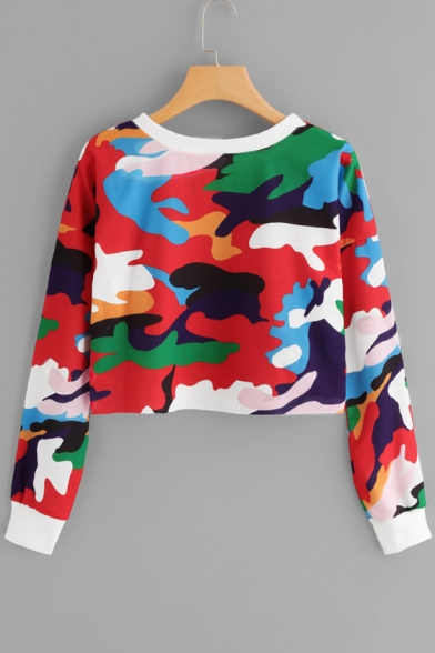 Round Neck Long Sleeve Fancy Color Block Red Cropped Sweatshirt