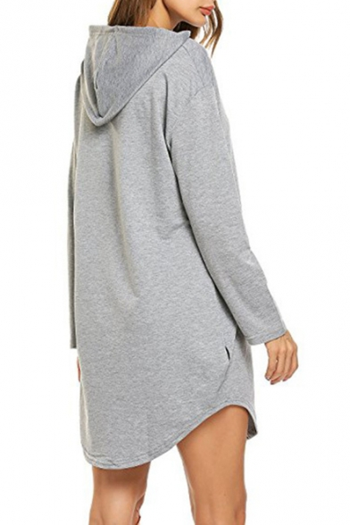 Simple Cozy Long Sleeve Casual Plain Hooded Dress