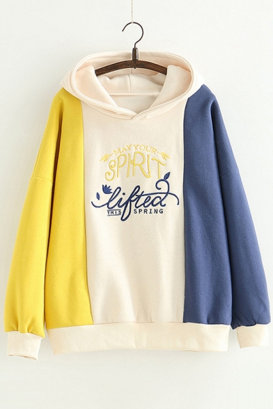 Winter's Chic Letter Printed Color Block Long Sleeve Casual Leisure Hoodie