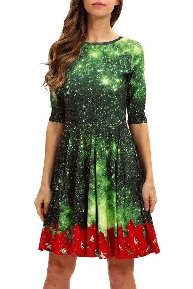 Image of 3D Green Galaxy Printed Half Sleeve Midi Pleated Dress for Women
