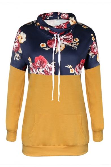 Colorblock Floral Printed Long Sleeve High Neck Leisure Hoodie