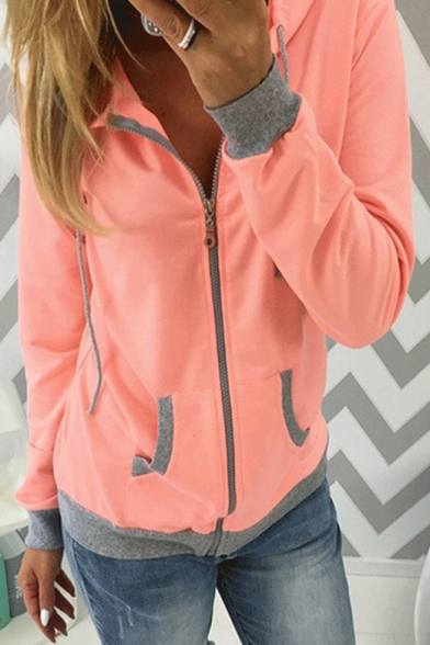 Fashion Color Block Two-Tone Long Sleeve Regular Fitted Zip Up Hoodie