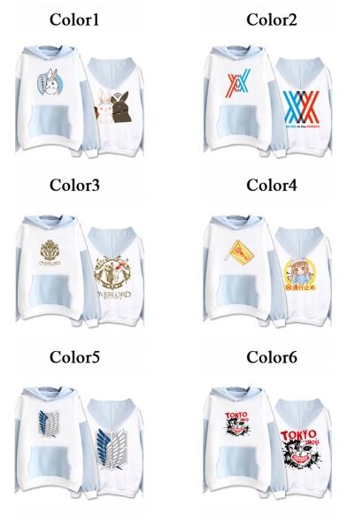 Girls Lovely Comic Character Pattern Colorblock Long Sleeve Leisure Hoodie
