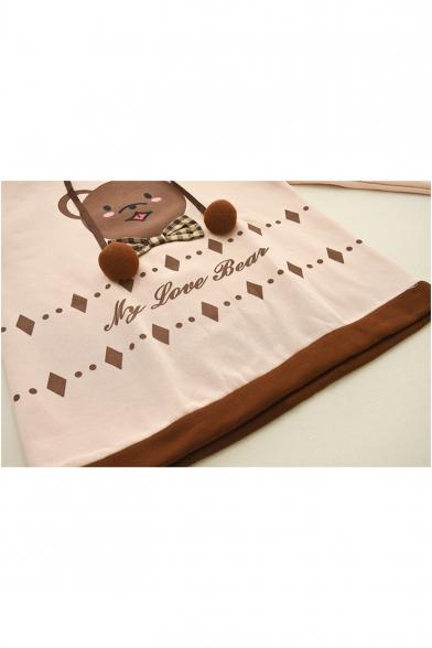 Light Khaki Cute Bear Pattern Long Sleeve Contrast Bow Embellished Hoodie