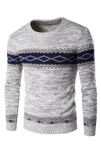 Шикарный colorblock мужской геометрический печать длинным рукавом crewneck тонкий приталенный свитер