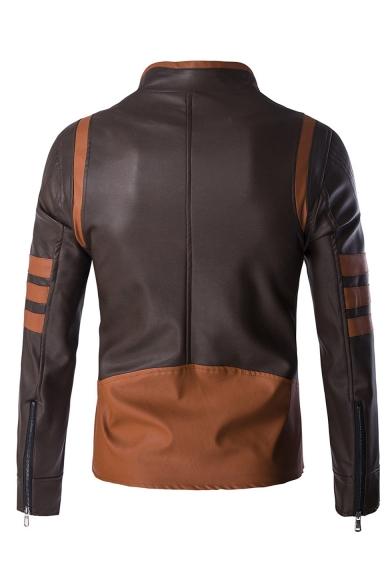 Men's Fashion Color Block Stand Collar Long Sleeve Zip Up PU Biker Jacket