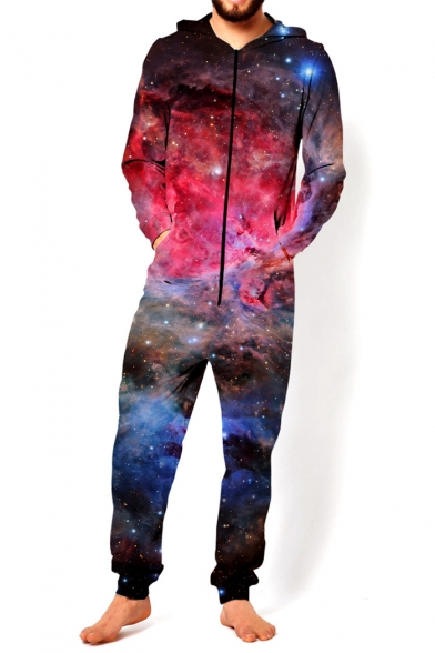 New Arrival 3D Red Galaxy Pattern Long Sleeve Hooded Unisex Loose Jumpsuits