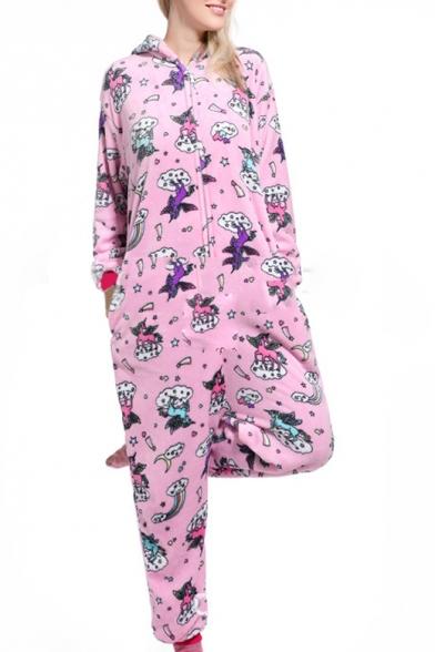 Pink Pegasus Cosplay Long Sleeve Hooded Costume Onesie Sleepwear Pajamas