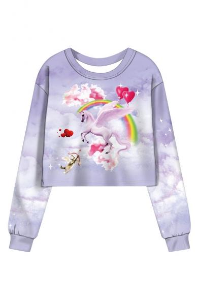 Sky Unicorn Pattern Round Neck Long Sleeve Cropped Purple Sweatshirt