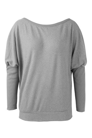 Women's Solid One Shoulder Long Sleeve Boxy Cozy Casual Soft Ribbed Pullover Sweater
