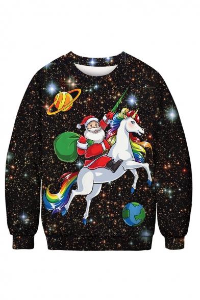 3D Star Santa Claus Pattern Round Neck Long Sleeve Black Sweatshirt