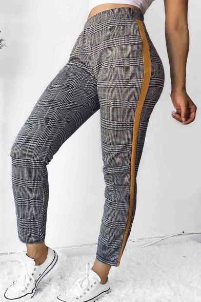 Classic Plaid Printed Striped Side Fashion Slim Fitted Pants