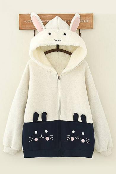 Cute Cartoon Rabbit Embroidered Pocket Long Sleeve Hooded Zip Up Coat