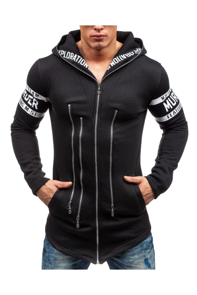 Fashion Letter Print Multi Zip Front Slim Fitted Men's Zip Up Hoodie