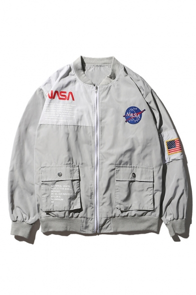 Hip Hop Style Fashion NASA Logo Patched Long Sleeve Zip Up Unisex Jacket