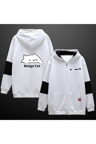 Letter BONGO CAT Cartoon Printed Color Block Two-Tone Zip Up Cotton Hoodie