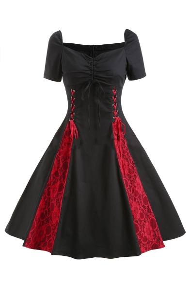 New Arrival Gothic Style Lace Up Off The Should Short Sleeve Lace Patch Midi A-Line Dress