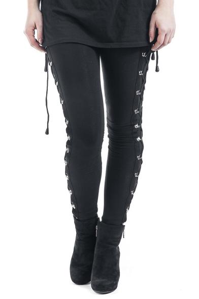 Купить со скидкой New Arrival Trendy Black Elastic Waist Lace-Up Side Stretch Skinny Leggings
