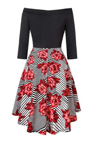 New Trendy Off The Should 3/4 Length Sleeve Floral Printed High Low Dress