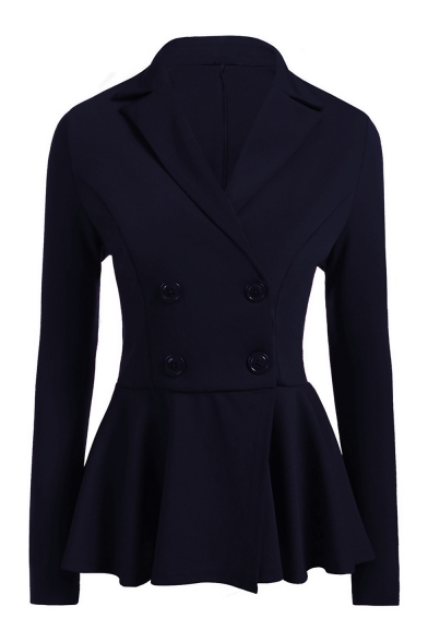 Office Lady Notched Lapel Collar Long Sleeve Double Breasted Gathered Waist Blazer Coat