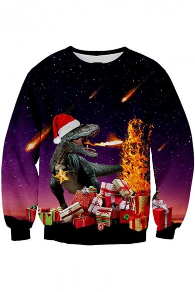 Popular 3D Christmas Fire Dinosaur Pattern Long Sleeve Round Neck Purple Sweatshirt