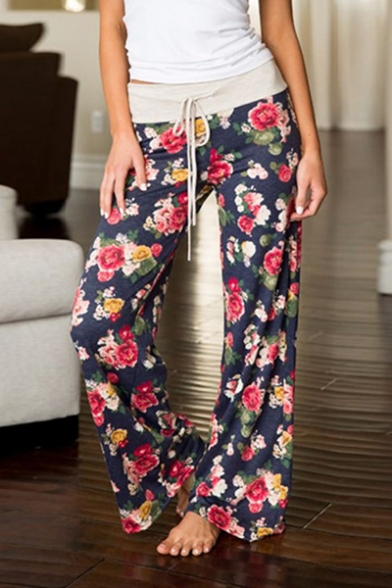 Women's Tied Waist Chic Floral Printed Loose Casual Wide Legs Pants