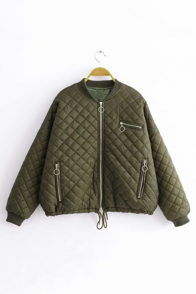 Baycheer / Army Green Stand Collar Long Sleeve Multi Zip Embellished Cotton-Padded Zip Up Jacket