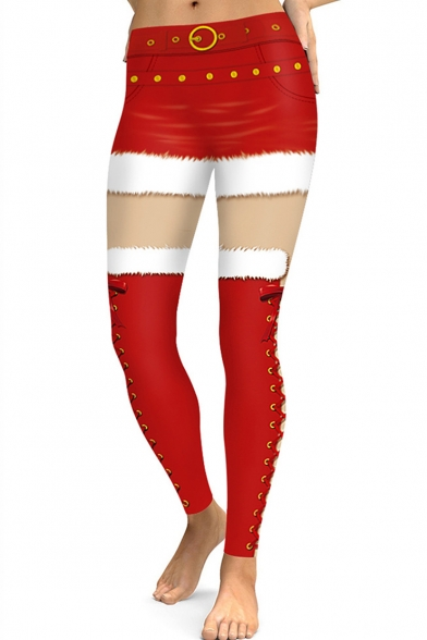 Digital Printed Colorblock Red Sports Stretch Skinny Fit Leggings