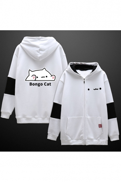 Fashion Letter BONGO CAT Cartoon Printed Color Block Zip Up Black and White Hoodie