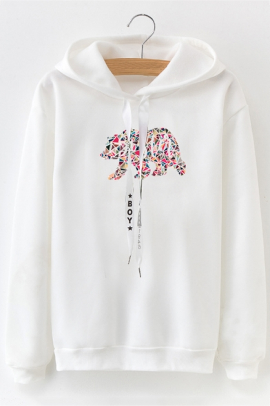 80e9f616 Fashion Unique Geometric Animal Print Long Sleeve Loose Casual Hoodie -  Beautifulhalo.com