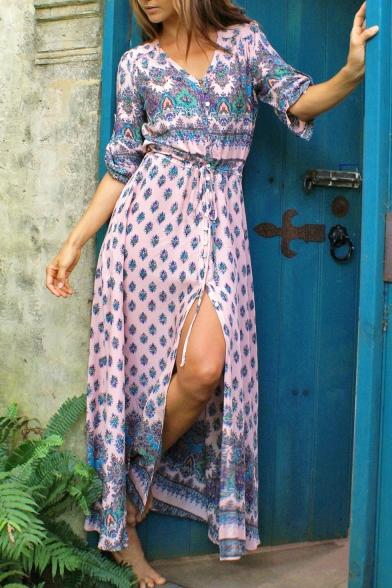 Hot Fashion Bohemian Style Tribal Printed Maxi Beach Dress for Holiday