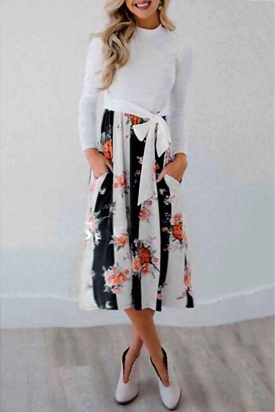 Hot Popular Long Sleeve Mock Neck Floral Printed Tie Waist Casual Midi Dress