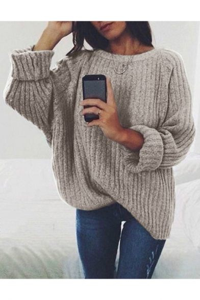 Hot Popular Long Sleeve Round Neck Plain Leisure Sweater