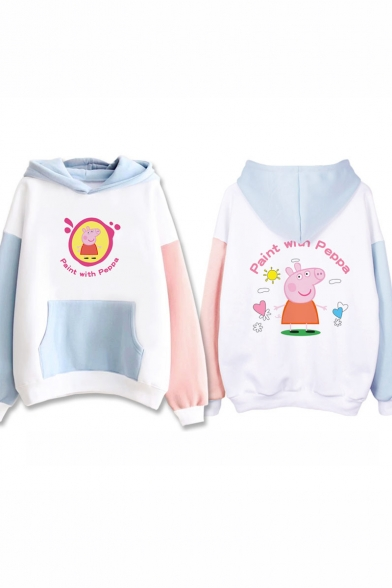Lovely Cartoon Character Pattern Long Sleeve Color Block Loose Fitted Hoodie